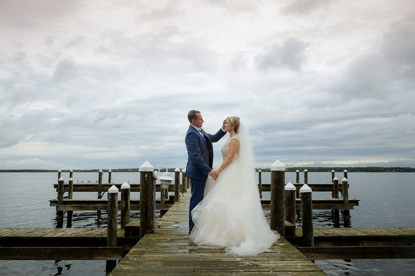 Newlyweds at the docks