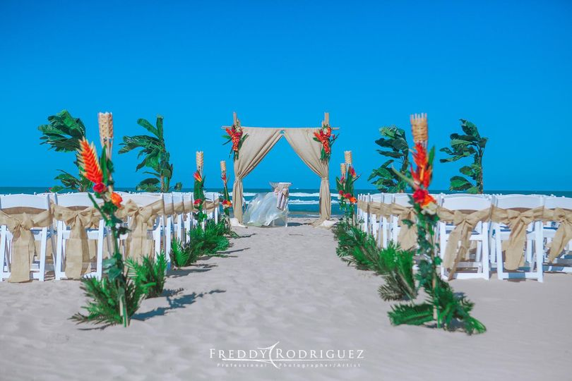 burlap set up with palm trees 2 51 714490