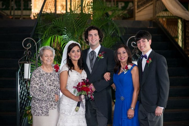 Our Custom Couture Mother of the Bride, Donna Beard (pictured in Blue Dress)