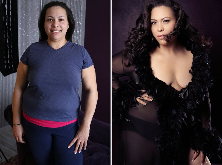 before after boudoir plus sized