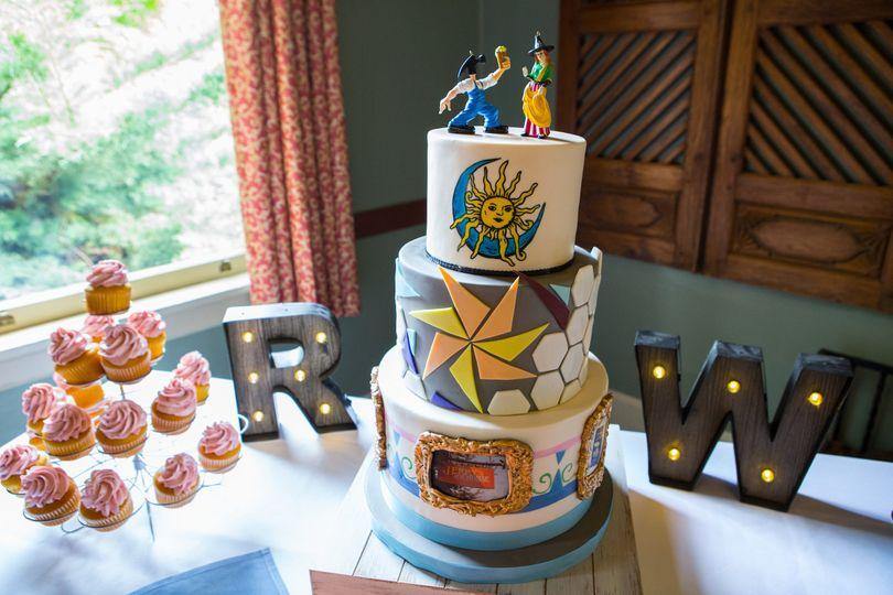 Custom Wedding Cake with McMenamins Art