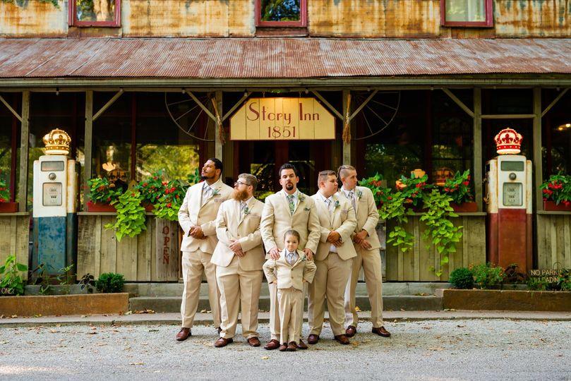 Groomsmen in front Restaurant