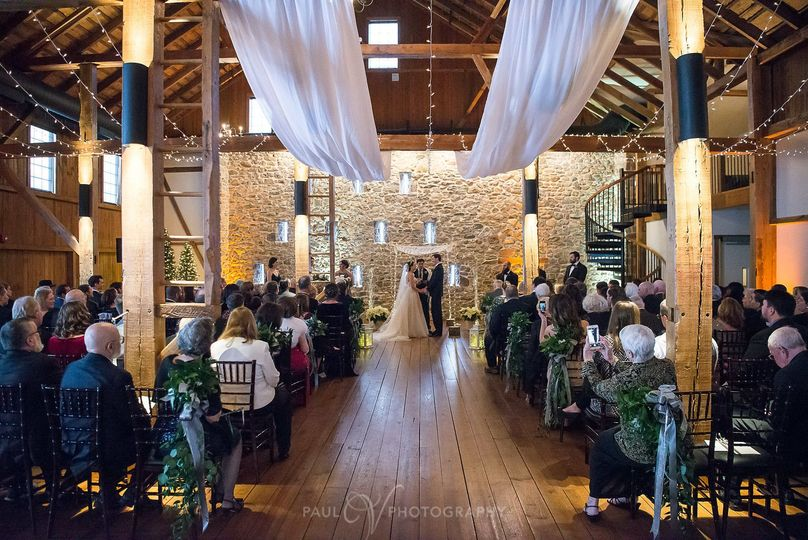 Wedding ceremony at the barn
