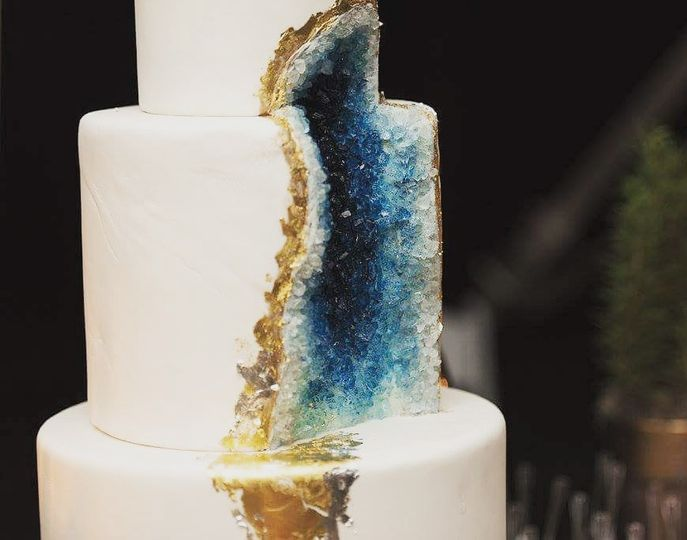 Beautiful gold and blue gem cake