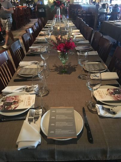 Rehearsal Dinner/ Wine Dinner Set up