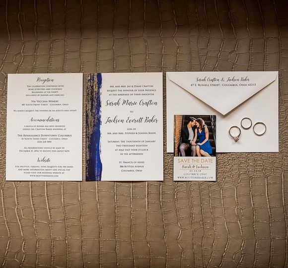 Flat Invitation with Gold Foil