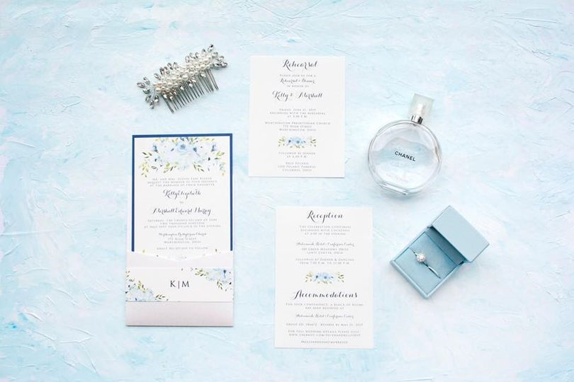 Baby Blue Floral Pocket Card
