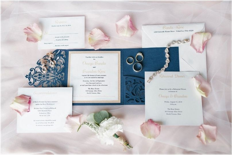 Navy Pocket Laser Invitation