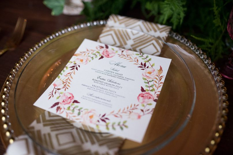 Blush Watercolor Floral Menu