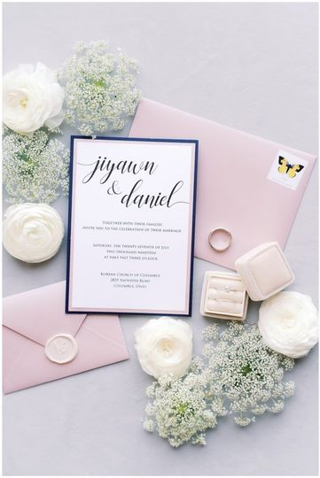 Blush and Navy Invitation