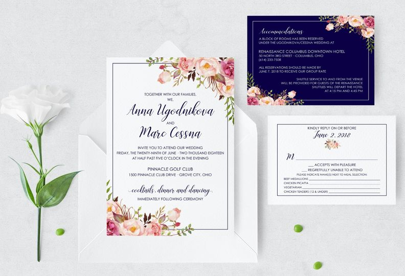 Blush Watercolor Floral Invite