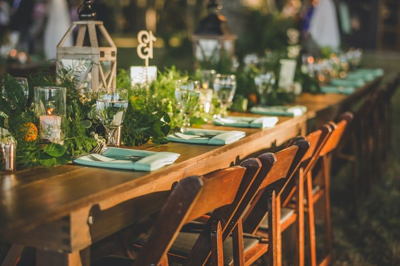 Farm Table with garland