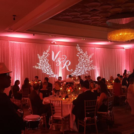 Monogram and pink uplights