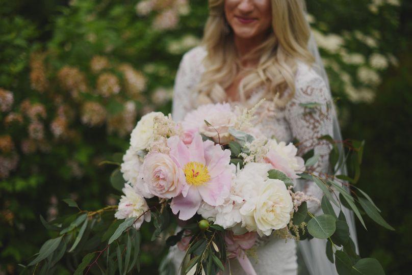 Pink flowers peonies bridal garden style