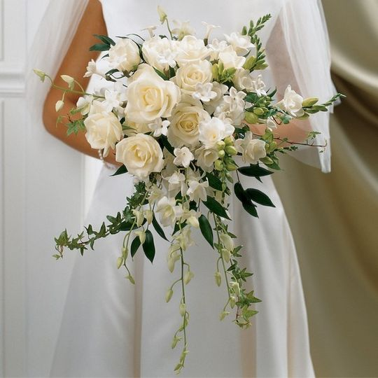 large ivory rose orchid scented bridal bouquet