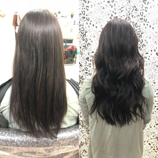 Before and after extensions, added a few inches in length and added fullness