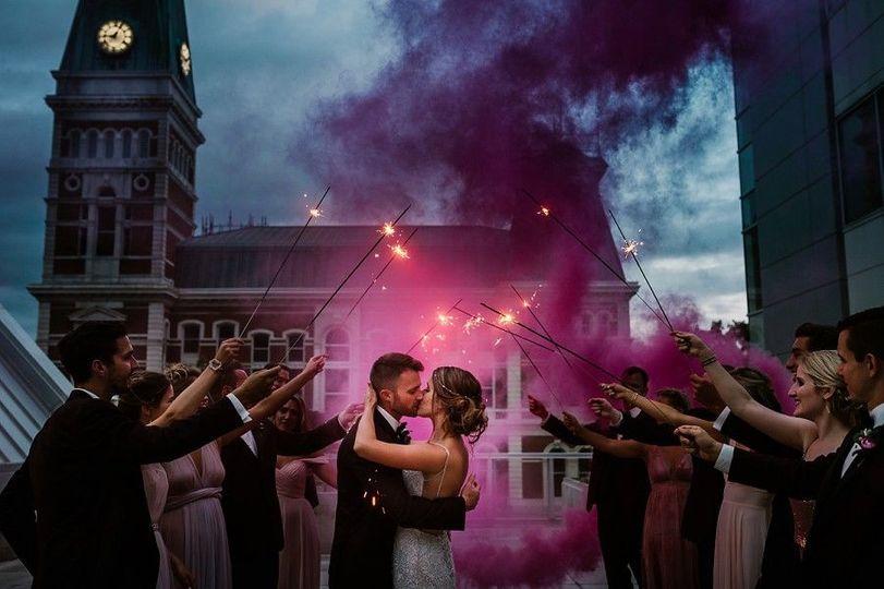 3406c1d12dd4fe97 columbus commons summer wedding smoke bomb indianapolis weddin
