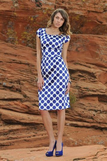 Zoe Dress in Royal Blue Dots