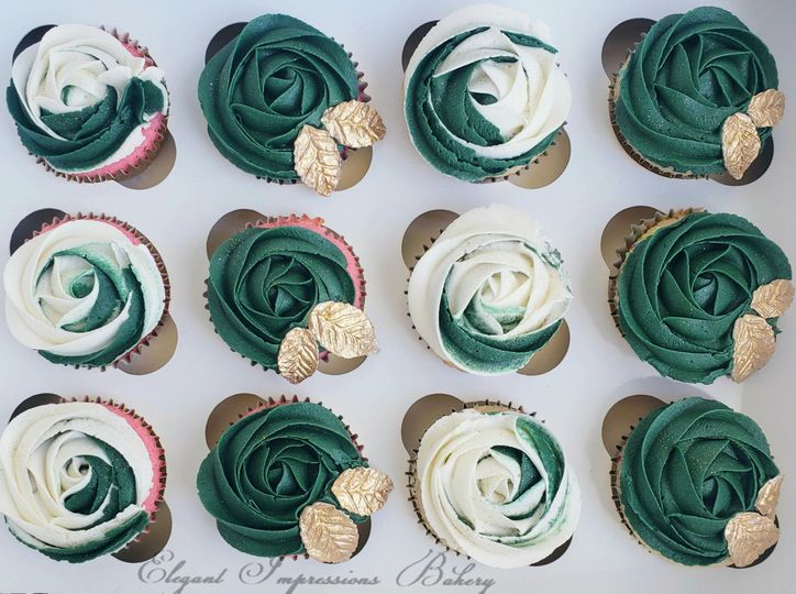 White and Forest Green Cupcake