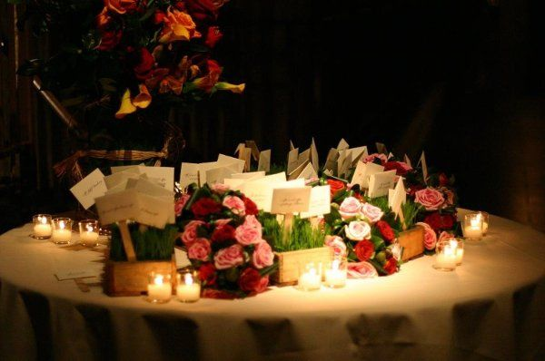 Table cards, candles, and flowers