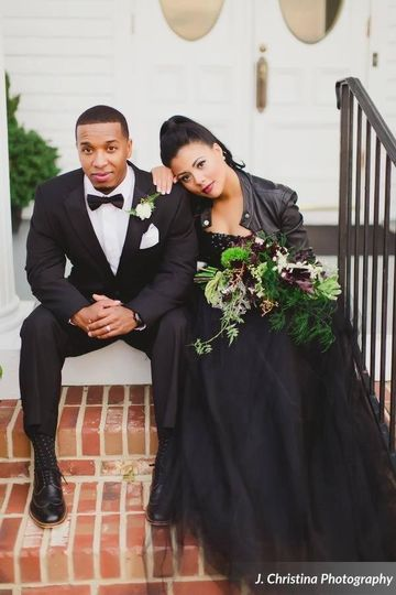 Newlyweds in black