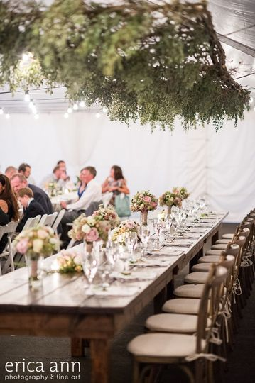 Wedding at The Colony. Photography by Erica Ann Flowers by Rosemary Stafford Farm Tables by Classic...