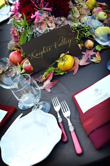 The chocolate, cranberry and ivory color palette was fabulous for October and the Italian themed...