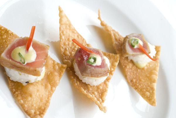 Sesame Seared Ahi Tuna served on a Wonton Crisp with a Wasabi Ginger Aioli