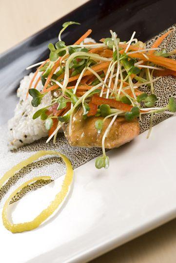 Orange Miso Glazed Salmon with Cucumber Daikon Salad