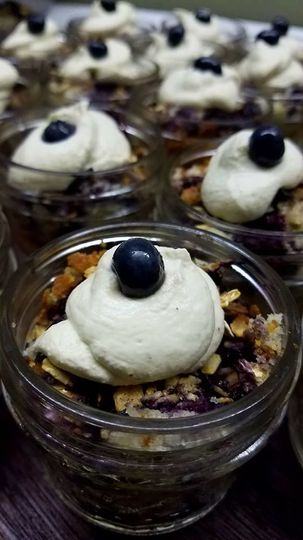 Blueberry cobbler with lemon whipped cream.