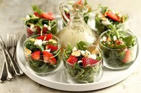 summer salad in rocks glasses