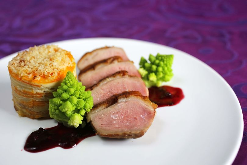 roasted duck breast with blackberry ancho chile sa