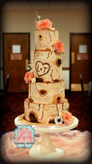 birch bark wedding cake 1