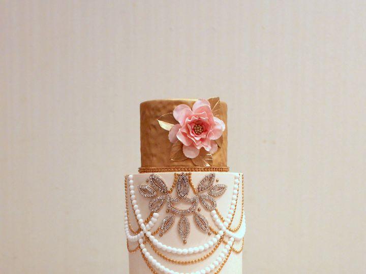 Tmx 1491183961866 Pink Gold Wedding Cake  Dickinson wedding cake