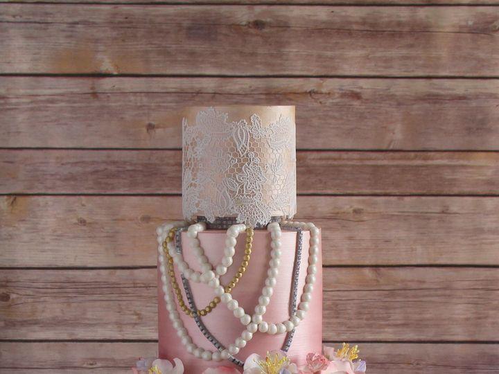 Tmx 1491183977875 Lace Pearls Wedding Cake Dickinson wedding cake