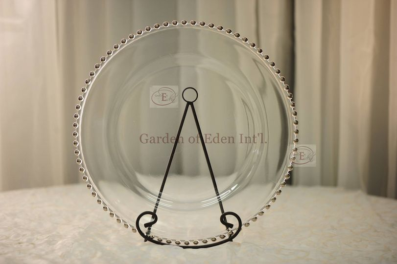 Silver Beaded Glass Plate Charger - Available at Garden of Eden Int'l. for Rental.
