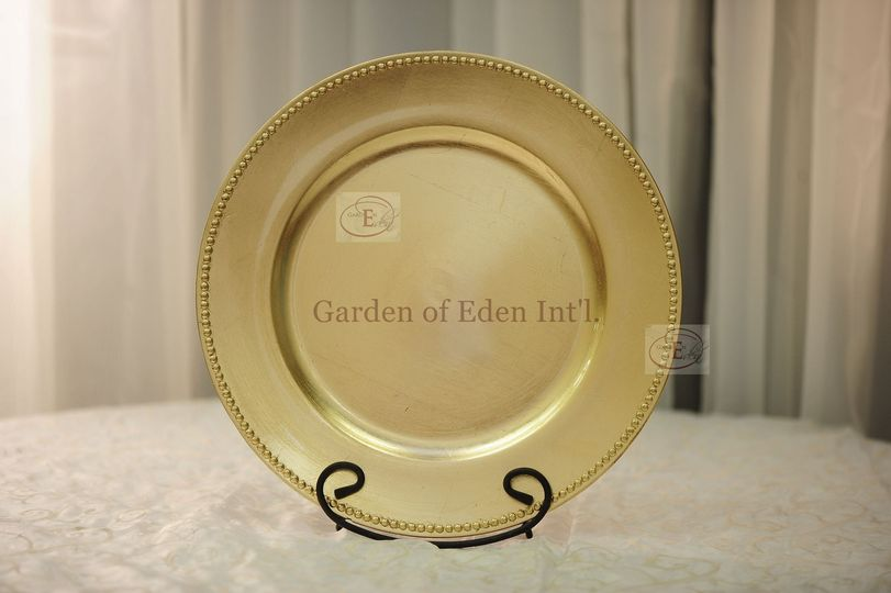 Acrylic Gold Beaded Plate Chargers - Available at Garden of Eden Int'l for rental.