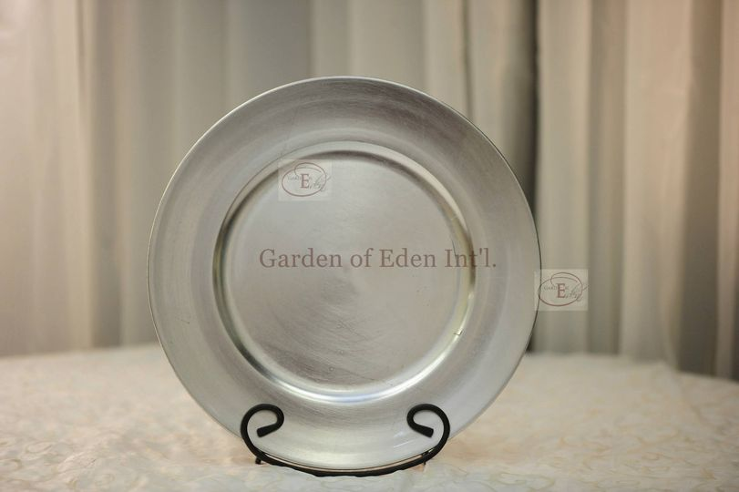 Platinum Silver Acrylic Plate Charger - Available at Garden of Eden Int'l. for rental.