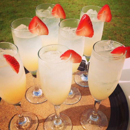 Vodka strawberry lemonade spritzer