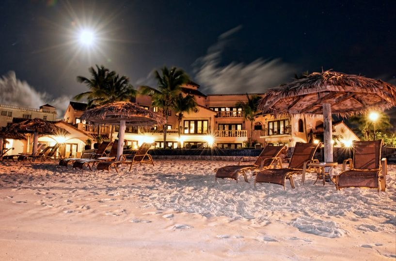 An evening shot of the Frangipani Beach Resort on Meads Bay, Anguilla.