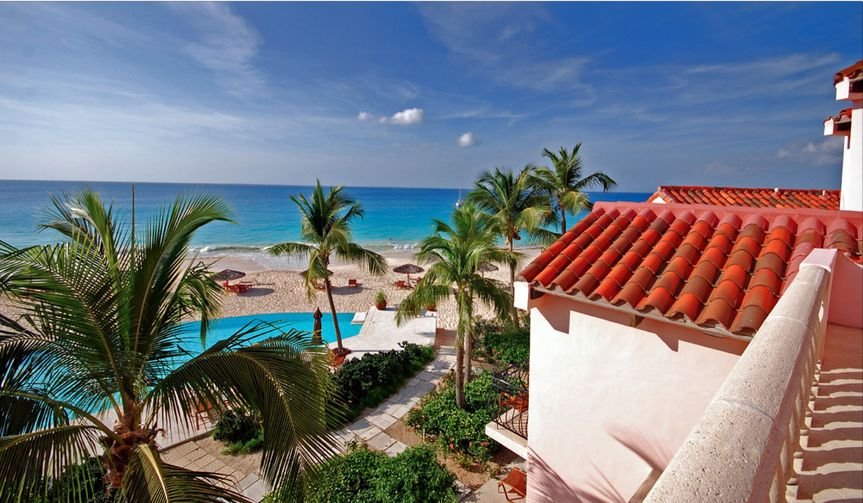 View from an upper deck of the Frangipani Beach Resort, located on Meads Bay in Anguilla, BWI.