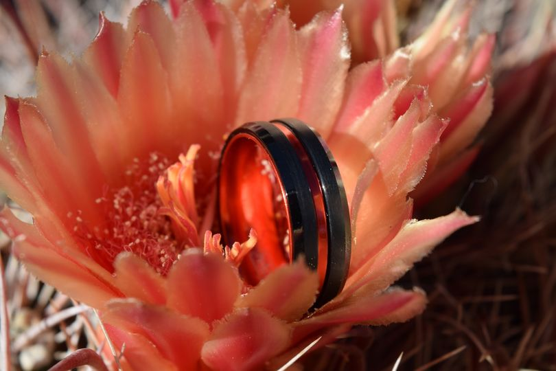Red and Black Tungsten Ring