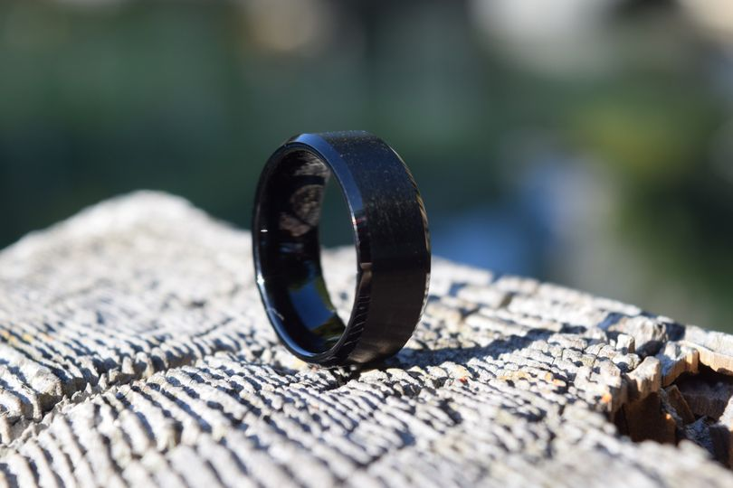 Solid Black Tungsten Wedding B