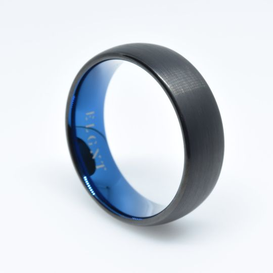 Blue and Black Tungsten Weddin