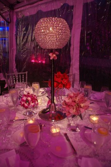 Pink and Sparkles under the tent at the Cavalier Yacht Club located in Virginia Beach.
