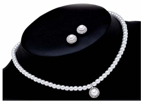 BALLET necklace and earrings Traditional, classy, and elegant, Ballet ensemble's bright white...