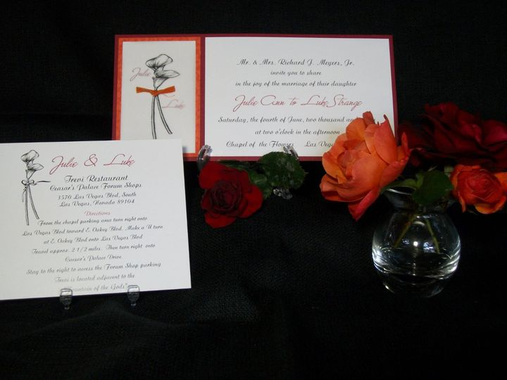 Comtempory tangerine and claret invitation with custom calla lily design on vellum overlay.