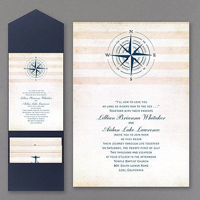 Navy blue and white invitation