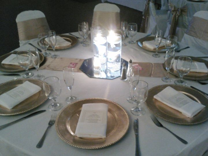 Wedding table with candlelit centerpiece