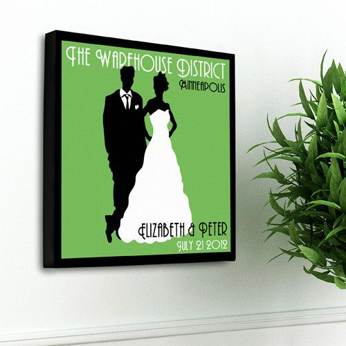 Personalized couples silhouette name sign wall art in various colors. These fun family name prints...